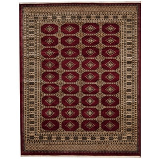 Herat Oriental Pakistani Hand-knotted Prince Bokhara Red/ Gold Wool Rug (6' x 8'3)