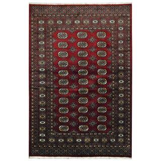 Herat Oriental Pakistani Hand-knotted Prince Bokhara Dark Red/ Gold Wool Rug (4'2 x 6'2)