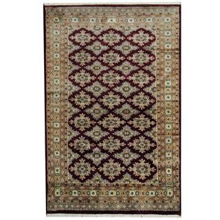 Herat Oriental Pakistani Hand-knotted Prince Bokhara Red/ Gray Wool Rug (4' x 6'3)
