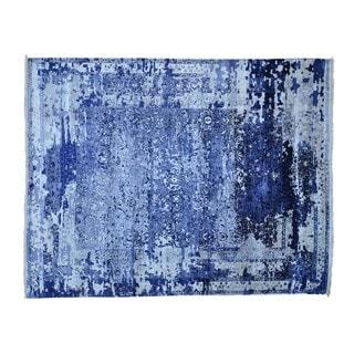 Tone-on-Tone Silk from Bamboo Handmade Broken Design Rug (8' x 10'1)