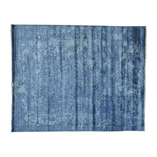 Tone-on-Tone Silk from Bamboo Hand-knotted Oriental Rug (8' x 10')