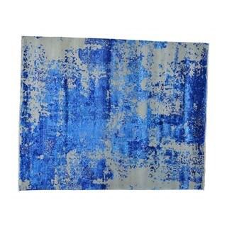 Wool and Silk from Bamboo Broken Design Handmade Rug (8'1 x 10')