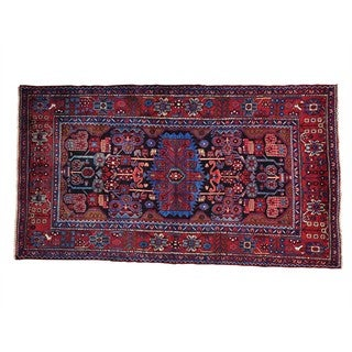 Wool Hand-knotted Tribal Design Persian Nahavand Rug (4'10 x 8'7)