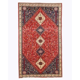 EORC Hand Knotted Wool Red Abadeh Rug (4'11 x 8'6)
