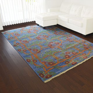 Denim Blue Silk from Bamboo Arts and Crafts Handmade Rug (5'10 x 8'8)