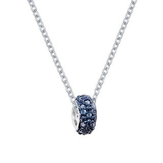 Sterling Silver 0.20ctw Color Diamond Pave Charm Necklace