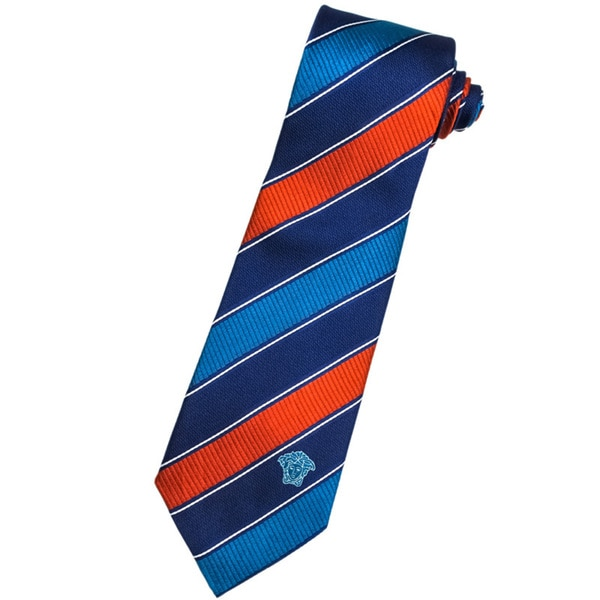 Versace 100-percent Italian Silk Blue/ Red Stripe Neck Tie