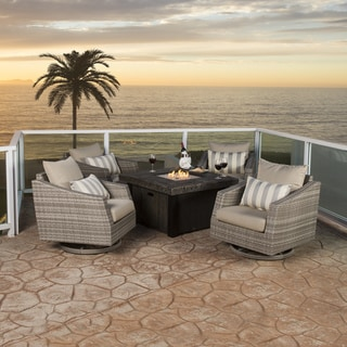 RST Brands Cannes 5-piece Motion Fire Chat Set in Slate Grey