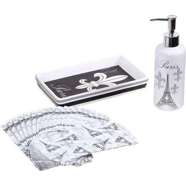 20-piece Black and White Paris Guest Napkin Set