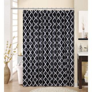 13-piece Lattice Printed Peva Shower Curtain with Roller Hooks