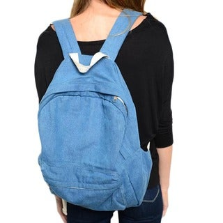 Shop the Trends Soft Mid-wash Denim Backpack with Padded Adjustable Straps