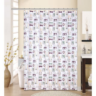 13-piece Fantasy Printed Peva Shower Curtain with Roller Hooks