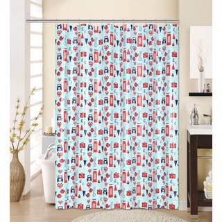 13-piece English Printed Peva Shower Curtain with Roller Hooks