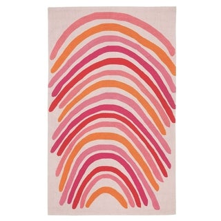 Hable Construction Crescent Rectangle Blush Multi-loop Hooked Rug (3'6 x 5'6)
