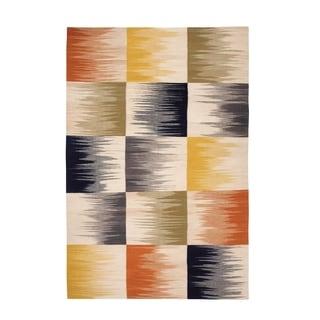 Beam Rectangle Multi-tone Flat Woven Rug (7'x 9')