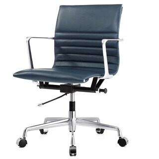 M346 Navy Italian Leather Executive Office Chair