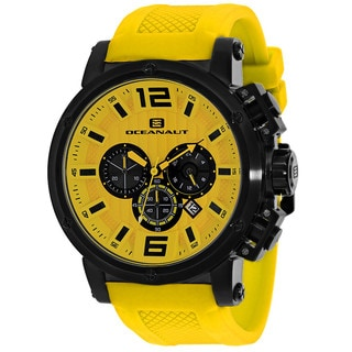 Oceanaut Men's OC2140 Spider Round Yellow Silicone Strap Watch