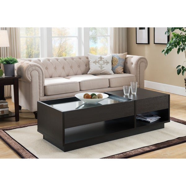 Furniture of America Lepton Modern Cappuccino 2-drawer Glass Insert Coffee Table