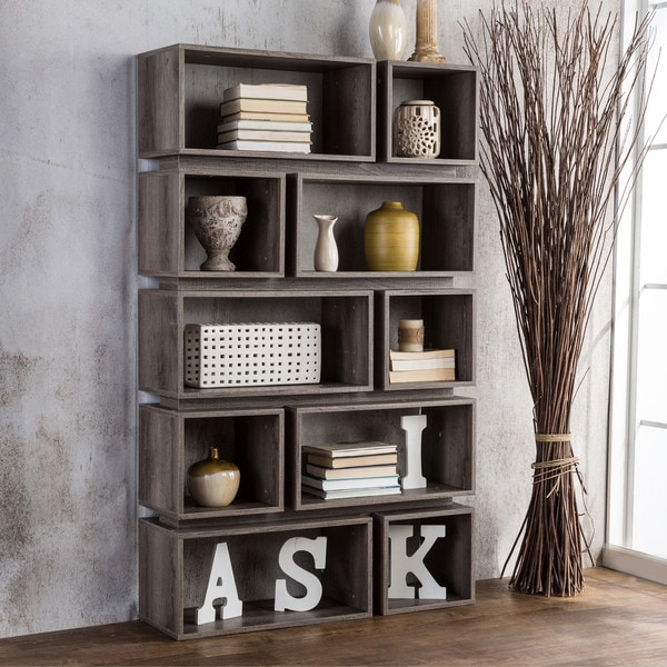 Furniture of america cassidy tiered distressed grey 10 for Furniture of america nara contemporary 6 shelf tiered open bookcase