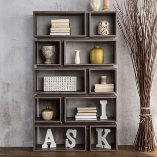 Furniture of America Niti Rustic Grey 10-shelf Open Bookcase