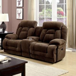 Furniture of America Leytonne Brown Flannelette Power-Assist Reclining Loveseat
