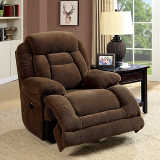 Furniture of America Leytonne Brown Flannelette Power-Assist Recliner