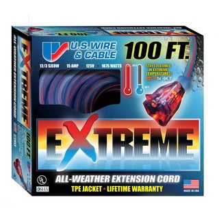 US Wire 99100 12/3 100-Foot SJEOW TPE Extreme Weather Extension Cord with Lighted Plug (Blue)