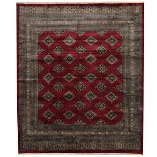Herat Oriental Pakistani Hand-knotted Prince Bokhara Dark Red/ Gold Wool Rug (6'6 x 7'8)
