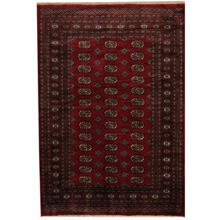 Herat Oriental Pakistani Hand-knotted Prince Bokhara Red/ Gold Wool Rug (5' x 7'4)