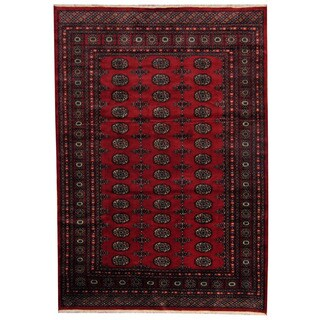 Herat Oriental Pakistani Hand-knotted Prince Bokhara Red/ Gold Wool Rug (5'7 x 8')