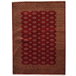 Herat Oriental Pakistani Hand-knotted Prince Bokhara Red/ Gold Wool Rug (5'8 x 7'9)