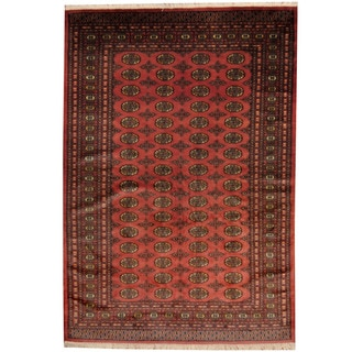 Herat Oriental Pakistani Hand-knotted Prince Bokhara Salmon/ Gold Wool Rug (6' x 9')