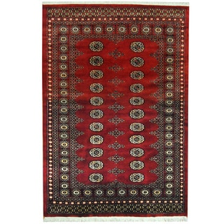 Herat Oriental Pakistani Hand-knotted Prince Bokhara Red/ Gold Wool Rug (4'6 x 6'6)