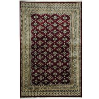 Herat Oriental Pakistani Hand-knotted Prince Bokhara Burgundy/ Gold Wool Rug (4' x 6'2)