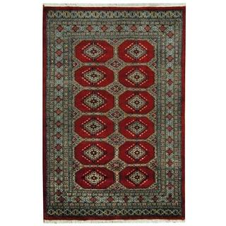 Herat Oriental Pakistani Hand-knotted Prince Bokhara Red/ Gray Wool Rug (4' x 6')