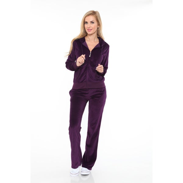 White Mark Women's Velour Suit Large Size in Purple (As Is Item)