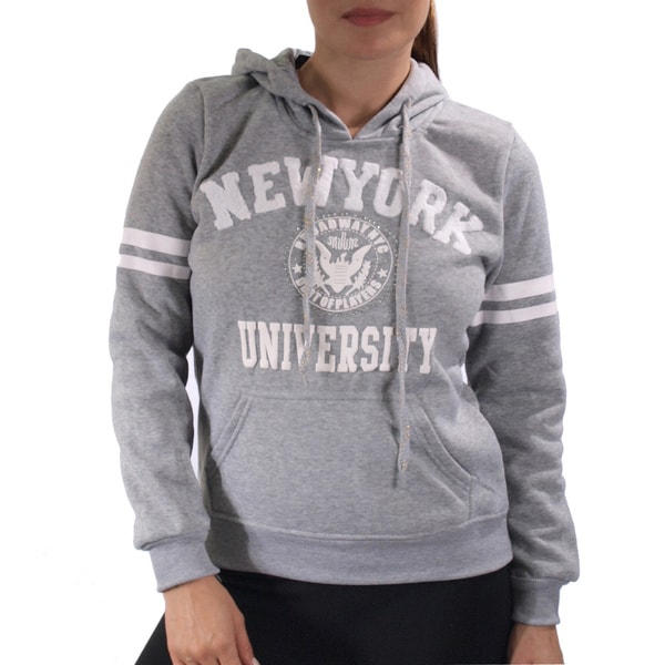 Ladies Fleece Double Hood Sweatshirt, Embellished with Appliques and Rhinestones 17086494