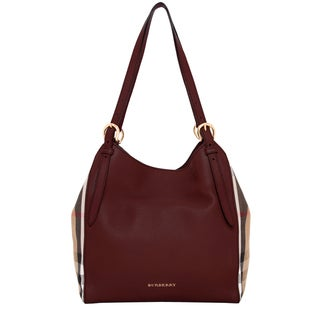 Burberry Leather and House Check Small Canter Tote