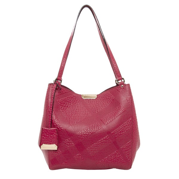Burberry Embossed Leather Red Small Canter Tote