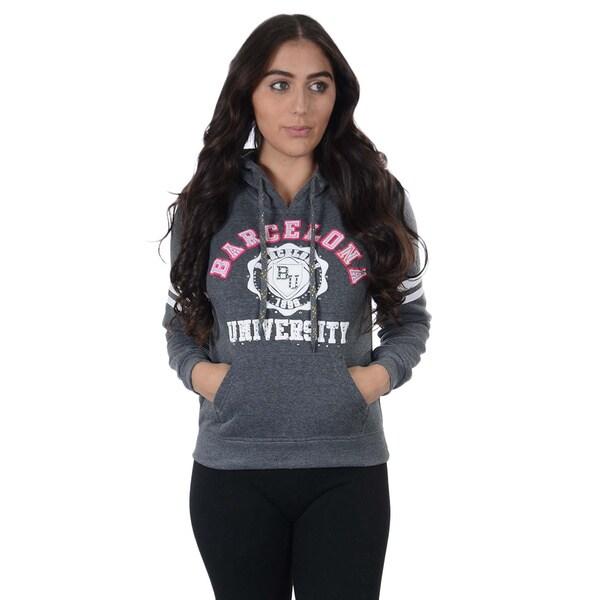 Women's Fleece Double Hood 'Barcelona University' Embellished Rhinestone Sweatshirt