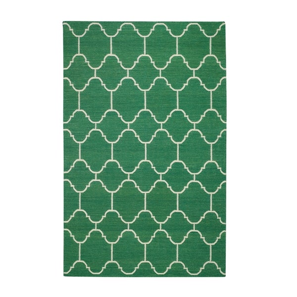 Genevieve Gorder Serpentine Rectangle Dark Green Flat Woven Rug (7'x 9')