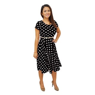 Women's Polka Dot Short Sleeves Scoop Neck Belted Dress