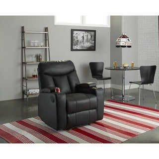 ProLounger Tuff Stuff Black Synthetic Leather Wall Hugger Storage Arm Recliner