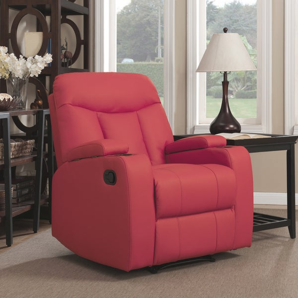ProLounger Tuff Stuff Red Synthetic Leather Wall Hugger Storage Arm Recliner 17086720