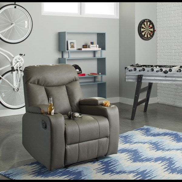 ProLounger Tuff Stuff Taupe Synthetic Leather Wall Hugger Storage Arm Recliner 17086721