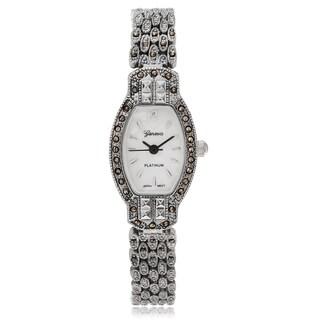 Geneva Platinum Women's Marcasite Antique Link Watch