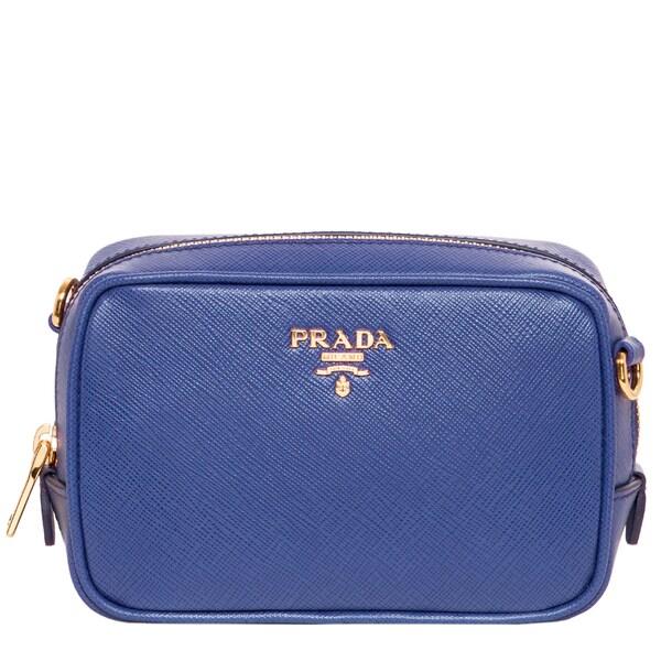 Prada Saffiano Blue Clutch Crossbody Bag