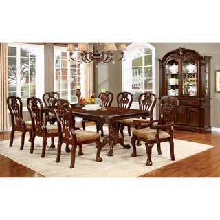 Furniture of America Carpia Formal 9-piece Brown Cherry Dining Set