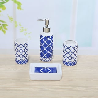 4-piece Ceramic Blue Lattice Bath Set