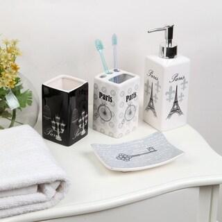 4-piece Ceramic Black and White Travel Bath Set
